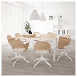 BEKANT Mesa de reuniones 140x140 cm cuadrada roble/blanco