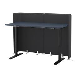 BEKANT Escritorio profesional sentado/de pie 160x80 cm con separador azul/negro