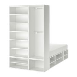 PLATSA Cama 140, estructura con armario y almacenaje abierto