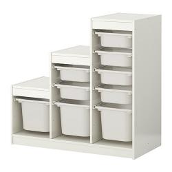 TROFAST Combinación de almacenaje+cajas