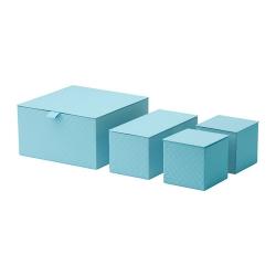 PALLRA Caja con tapa, juego de 4