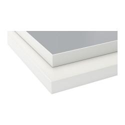 EKBACKEN Encimera, 2 lados, gris claro y blanco con borde blanco