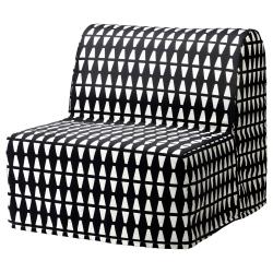 1 x LYCKSELE Funda sillón cama, EBBARP negro-blanco