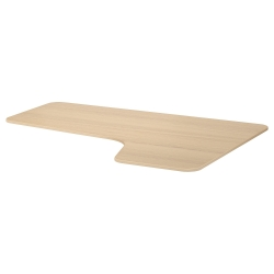 1 x BEKANT Tablero para escritorio 160x110 cm esquina derecha roble