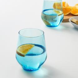 IVRIG Juego de 4 vasos de vidrio azul, 45cl
