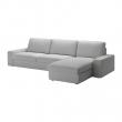 KIVIK Sofá 4 plazas con diván, ORRSTA gris claro