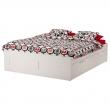 BRIMNES Queen bed, frame with storage and LÖNSET reinforced slatted bed base