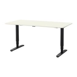 BEKANT Escritorio profesional 160x80 cm sentado/de pie blanco/negro