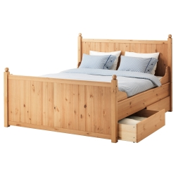 HURDAL Bed frame with 4 storage boxes