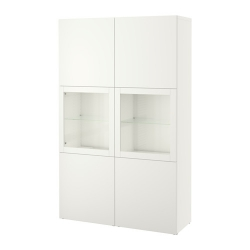 BESTÅ Vitrina blanca con seis puertas, dos en vidrio transparente, 120x40x192 cm