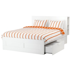 BRIMNES Full bed frame/headboard & Luröy slatted