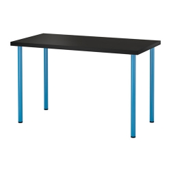 LINNMON/ADILS Mesa de escritorio 120x60 cm negro-marrón/azul