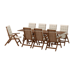 ÄPPLARÖ Mesa+8 sillas reclinables, ext