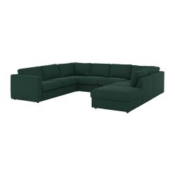 VIMLE Sofá 6 plazas en U, GUNNARED verde oscuro