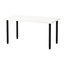 LINNMON/OLOV Mesa de escritorio 120x60 cm con patas regulables blanco/negro