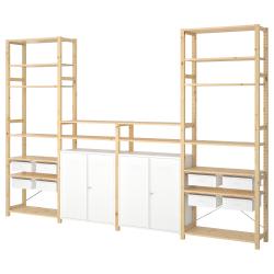 IVAR Estructura almacenaje 344x30x226 cm cuatro secciones con estantes, cajones y armarios