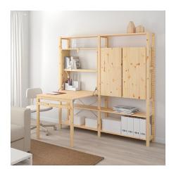 IVAR Estructura almacenaje 175x30x179 cm dos secciones con armario, estantes y mesa plegable