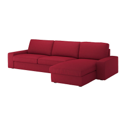 KIVIK Sofá 4 plazas con diván Orrsta rojo