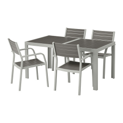 SJÄLLAND Mesa+4 sillas reposabrazos, exterior.