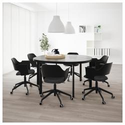 BEKANT Mesa de reuniones 140x140 cm negro