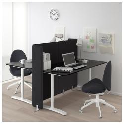 BEKANT Combinación escritorio oficina 2 puestos con separador negro/blanco