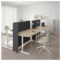 BEKANT Combinación escritorio oficina 4 puestos con separador roble/blanco