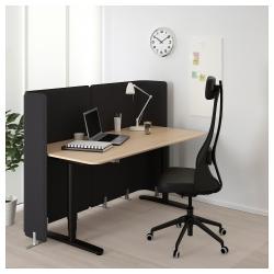 BEKANT Escritorio profesional sentado/de pie 160x80 cm con separador roble/negro