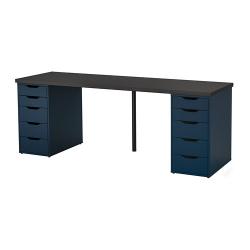 LINNMON/ALEX Mesa de escritorio 200x60 cm con dos cajoneras negro-marrón/azul