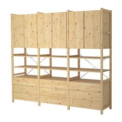 IVAR 3 secciones/estantes/gavetero/clóset