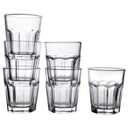 POKAL Juego de 6 vasos de vidrio templado con relieve, 27cl