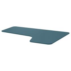 1 x BEKANT Tablero para escritorio 160x110 cm esquina derecha azul