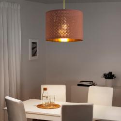NYMÖ Pantalla para lámpara rosa/bronce 44 cm