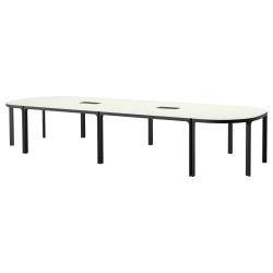 BEKANT Mesa de reuniones 420x140 cm blanco/negro