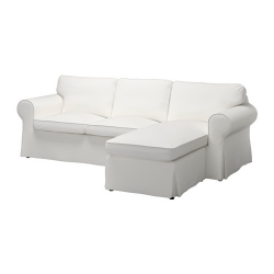 EKTORP Sofá 3 plazas con diván, VITTARYD blanco