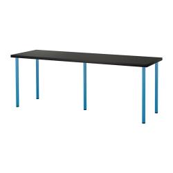 LINNMON/ADILS Mesa de escritorio 200x60 cm negro-marrón/azul