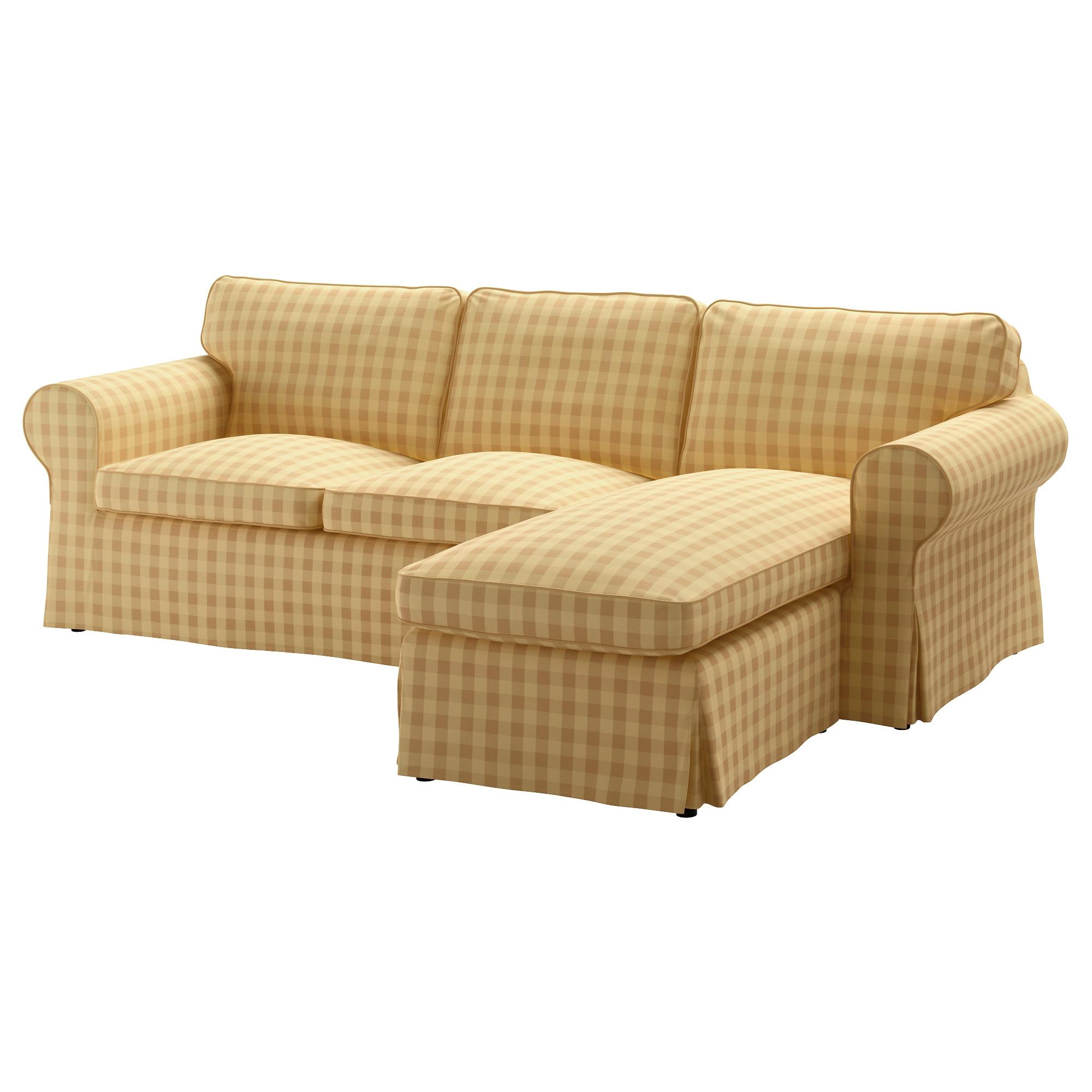 EKTORP sofá 3 plazas con diván, SKAFTARP amarillo