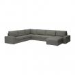 KIVIK Sofá 7 plazas con diván, BORRED grisáceo