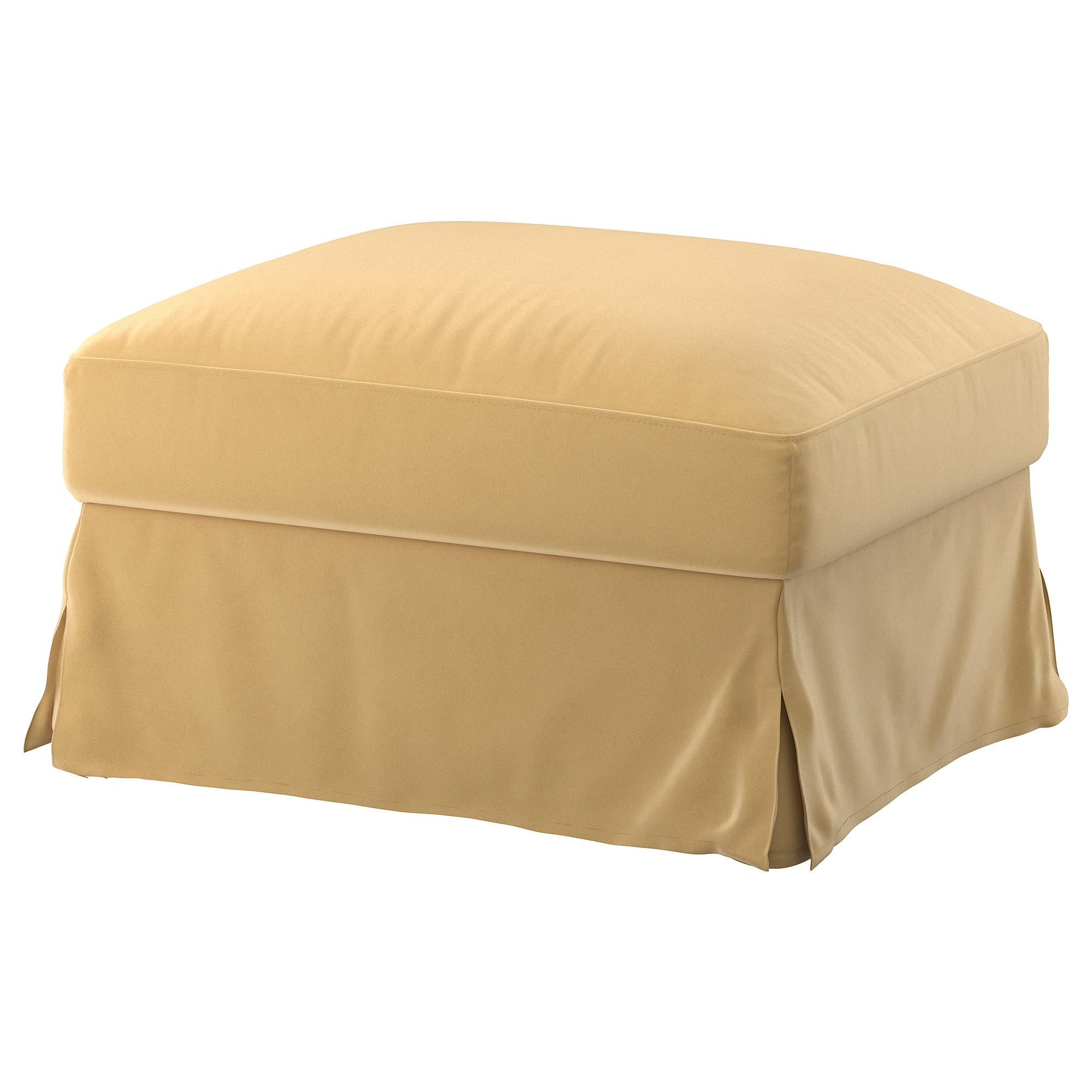 FÄRLÖV reposapiés con almacenaje + funda footstool Djuparp beige dorado