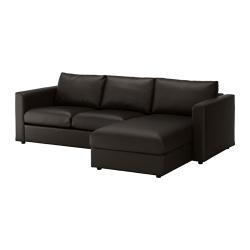 VIMLE Sofá 3 plazas con diván, FARSTA negro