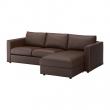 VIMLE Sofá 3 plazas con diván, FARSTA marrón oscuro