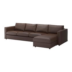 VIMLE Sofá 4 plazas con diván, FARSTA marrón oscuro