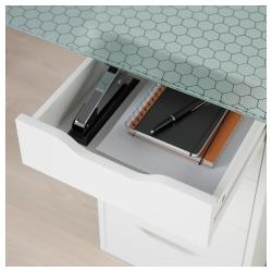 GLASHOLM/ALEX Mesa de escritorio 148x73 cm con cajoneras blancas