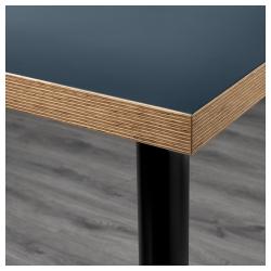 LINNMON/OLOV Mesa de escritorio 120x60 cm con patas regulables azul/negro