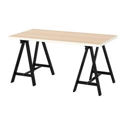 LINNMON/ODDVALD Mesa de escritorio 150x75 cm blanco efecto roble/negro