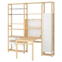 IVAR Estructura almacenaje 219x30x226 cm tres secciones con estantes, armario y mesa plegable