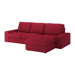 KIVIK Sofá 3 plazas con diván Orrsta rojo