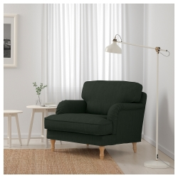STOCKSUND Sillón Nolhaga verde oscuro con patas de madera en marrón claro