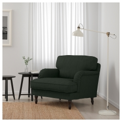 STOCKSUND Sillón Nolhaga verde oscuro con patas de madera en negro