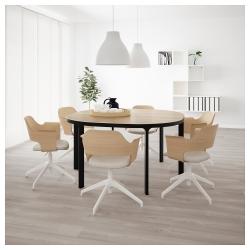 BEKANT Mesa de reuniones 140x140 cm roble/negro