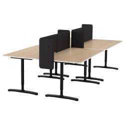 BEKANT Combinación escritorio oficina 4 puestos con separador 55 cm roble/negro
